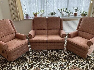Parker Knoll 3 Piece Suite (Cottage Style) - Reclining Armchairs • 250£