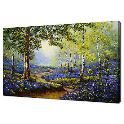 £22.99 • Buy Spring Forest Bluebells Flowers Painting Style Canvas Print Wall Art Picture