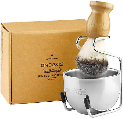 £13.91 • Buy Anbbas Synthetic Badger Hair Shaving Brush And Stand Holder Stainless Steel Bowl