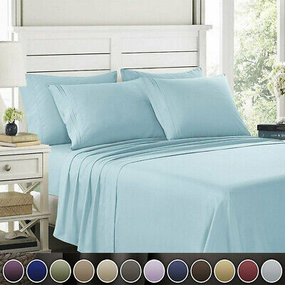 AU28.99 • Buy 1800TC 4PCS Single/Double/Queen/King Bed Flat Fitted Sheet Set Pillowcase Bed