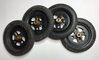 """Vintage Meccano Grey Tyres On Black 2"""" Pulleys No 20a And 142a X 4 • 12£"""