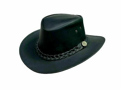£16.95 • Buy Australian Western Style Cowboy Real Leather Black Bush Hat With Chin Strap