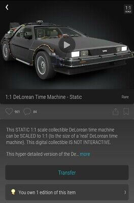 VEVE RARE Delorean NFT Back To The Future First Edition Veve Collectable 1.1  • 275£