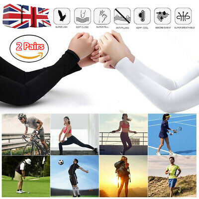 £4.12 • Buy 2pair Unisex Ice Silk Cooling UV Sun Protection Arm Sleeves Cover Sports Cycling