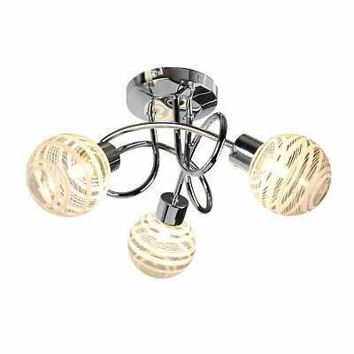 £23.99 • Buy Modern Polished Chrome 3 Way Spiral Ceiling Light Fitting Chandelier Glass Shade
