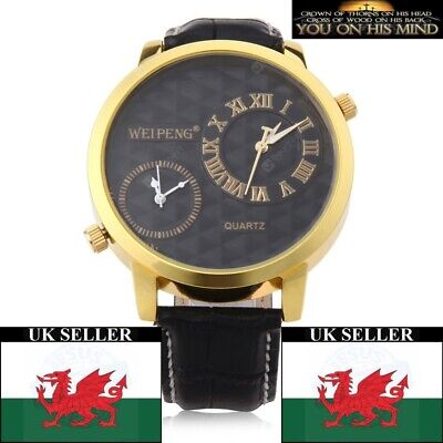 £12.99 • Buy Gents Large Black Dual Time Face Black (Or Brown) Genuine Leather Strap Watch