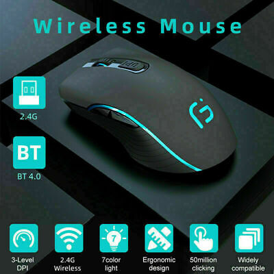 AU20.66 • Buy LED Wireless Bluetooth Rechargeable USB Dongle Mouse Mice For Tablet PC Andoid