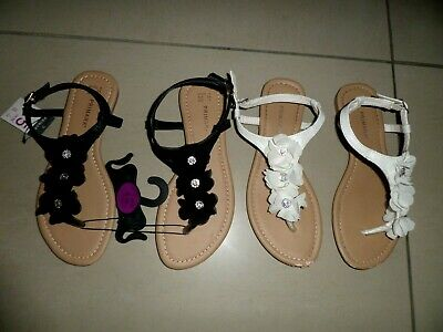 New With Tags Primark Black Flower Sandals Size 5 & White Flower Sandals  • 4.50£