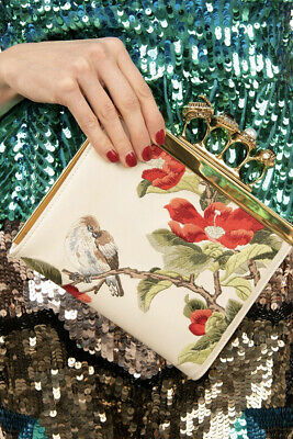 AU1258.08 • Buy ALEXANDER MCQUEEN Leather Knuckle Clutch Bag Embroidered Bird & Blossom RRP€1735