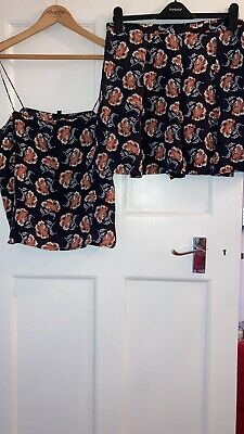 Topshop Boutique 100% Silk Floral Patterned Shorts And Cami Top Co Ord Size UK16 • 14.99£