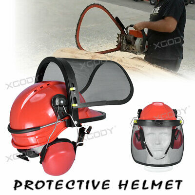 £17.20 • Buy NEW Professional Chainsaw Helmet With Ear Defenders Mesh Visor Free Safety X1