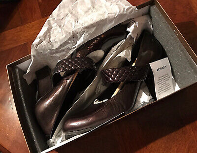 AUDLEY Metallic Chocolate Patent Leather Shoes 9cm Heel EU39.5 UK 6.5 Exc Cond • 4£