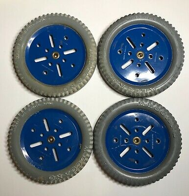 """Vintage Meccano 3"""" Grey Tyres On Blue Pulleys No 19b And 142b X 4 • 16£"""