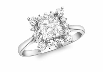 AU383.58 • Buy 9ct White Gold Princess Cut With Surrounding Round Ring