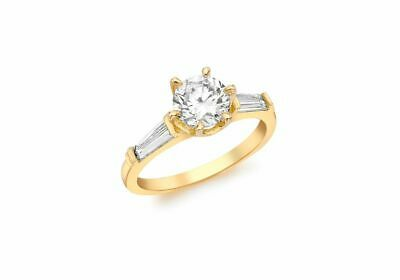 AU365.98 • Buy 9ct Yellow Gold Clear Stone Solitaire Ring