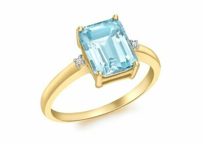 AU378.56 • Buy 9ct Yellow Gold Diamond And Blue Topaz Rectangular Ring