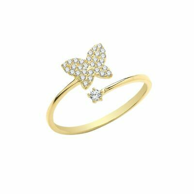 AU202.09 • Buy 9ct Yellow Gold Cubic Zirconia Butterfly Wrap Ring Sizes L-P Contact Us Before
