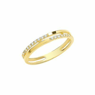 AU224.80 • Buy 9ct Yellow Gold Cubic Zirconia Double Band Ring Sizes K-Q Contact Us Before