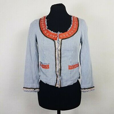 AU5.16 • Buy Free People Womens Size 0 Jacket My Fair Lady Boho Beaded Pinstriped Crop Blazer