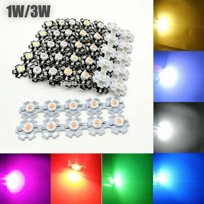 AU5.70 • Buy 1W 3W 5W Watt High Power LED SMD Chip UV White Blue Deep Red RGB Beads With PCB
