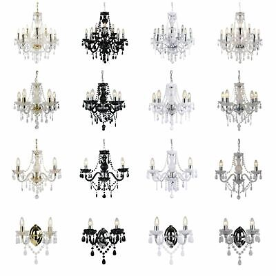 £44.99 • Buy Marie Therese 3/5/9 Ceiling & Wall Light Chandeliers - Clear Black White & Gold