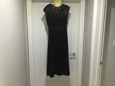 AU178.63 • Buy LK Bennett BNWT Black Salena Lace Yoke Midi Dress Size 14