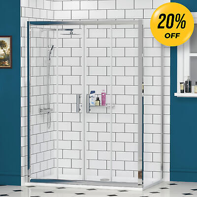 Double Sliding Shower Enclosure And Shower Tray 6mm Side Panel Glass Cubicle • 245.99£