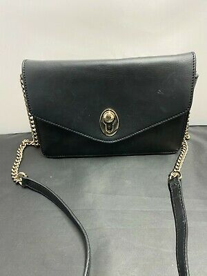 AU13.69 • Buy John Lewis, Black, Leather, Crossbody Bag With Chain Strap  #KW