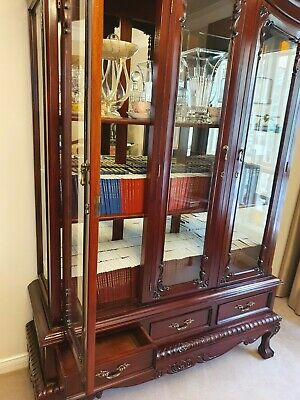 AU559 • Buy Antique Timber Display Cabinet, Mirror Backing, Timber Shelves, Glass Doors New