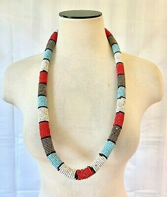$110 • Buy African Kenyan Hand Crafted Maasai Masai Beaded Round Necklace Long Wide
