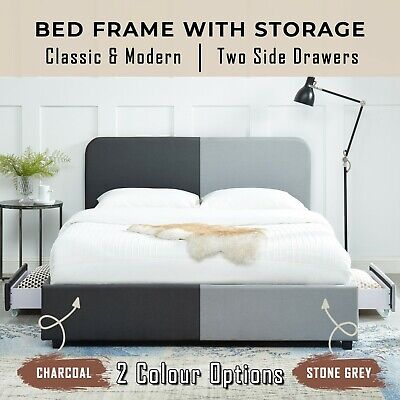 AU187.50 • Buy Modern Upholstered Bed Frame With Storage Double Queen King Size