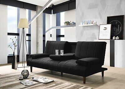 AU388.50 • Buy Fabric Sofa Bed Cup Holder 3 Seater Futon Light Grey Charcoal