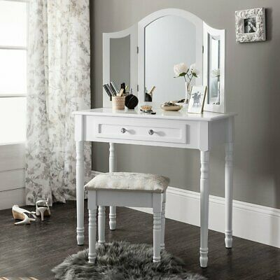AU126.89 • Buy Dressing Table Stool Mirror Drawer Makeup Jewellery Cabinet White Desk