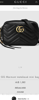 AU1285 • Buy Gucci Shoulder Bag Black + Gold Marmont Matelasse