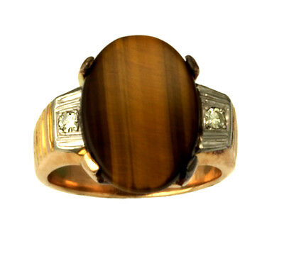 AU1032.88 • Buy Outstanding Tigers Eye Diamond Ring, 18K Yellow Gold, Size 8.5