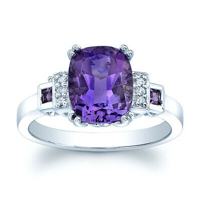 AU1327.34 • Buy Purple Amethyst Diamond Cushion Ring 18K White Gold 3 Stone Cocktail Natural