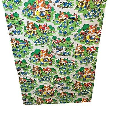Vintage Smurfs Twin Flat Sheet Only Lawtex 64 X 93 Inches  • 10.84£