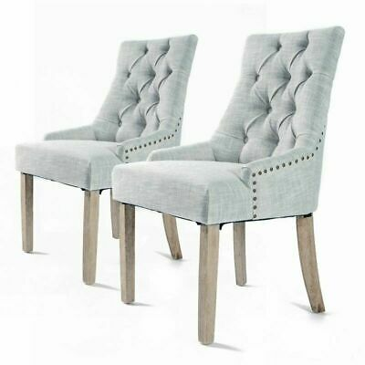 AU125 • Buy 2xDining Chair French Provincial Brass Studded Fabric Oak Legs Cafe AMOUR - GREY