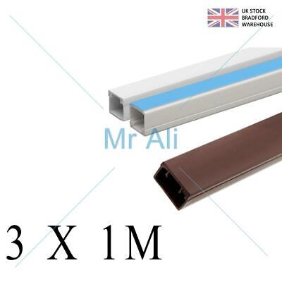 £5.97 • Buy Mini Cable Trunking Self Adhesive Multi Colour White PVC Conduit TV Wire 1 Metre