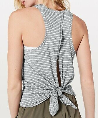 $ CDN16.87 • Buy Lululemon Gray Stripe ALL TIED UP Tee Tank! PERFECT! Open Back-2/4
