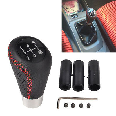 $ CDN12.37 • Buy 5 Speed Black&Red Line Leather Aluminum Manual Car Gear Shift Knob Shifter Lever