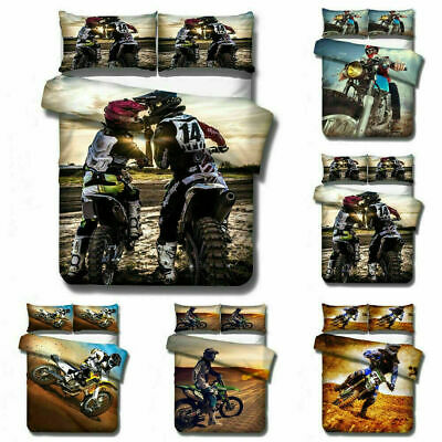AU74.69 • Buy Motorbike Motocross 3D Bedding Set 2/3PC Duvet Cover & Pillowcase(s) Gift UK12