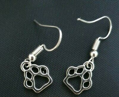 £2.99 • Buy Silver Plated Dog Cat Paw Print Earrings Cat Dog Earrings Dog Pawprint Earrings