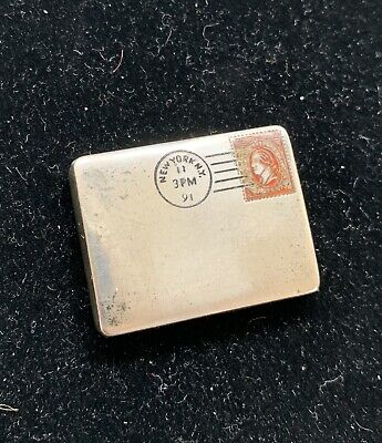 £327.24 • Buy Victorian Patented American Sterling Silver & Enamel Envelope Double Stamp Case