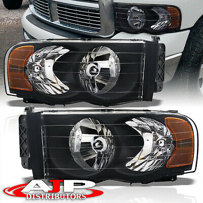 $74.99 • Buy Black Amber Replacement Driving Headlights Lamps LH RH For 2002-2005 Dodge Ram