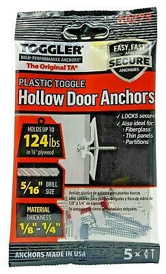 £5.95 • Buy Toggler TA Hollow Door Anchor Fixing 3-6MM Thickness - 56KG Load - Pack Of 5