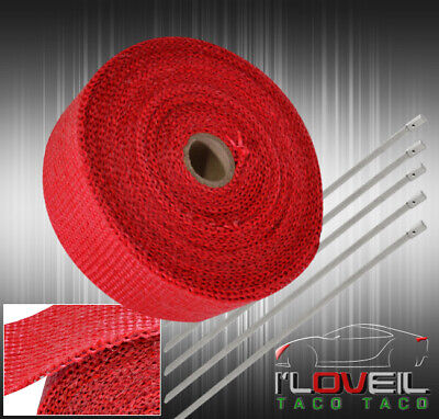 $20.99 • Buy 360 /30Ft High Temp Down Pipe Exhaust Turbo Heat Wrap Manifold Header Jdm Red