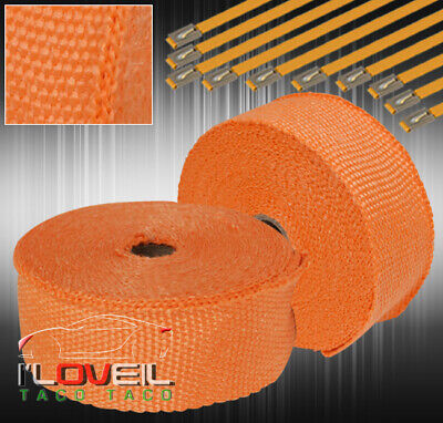 $33.99 • Buy 360  30Ft Engine Heat Wrap Shield Cover High Temp Turbo Header +Zip Ties Orange