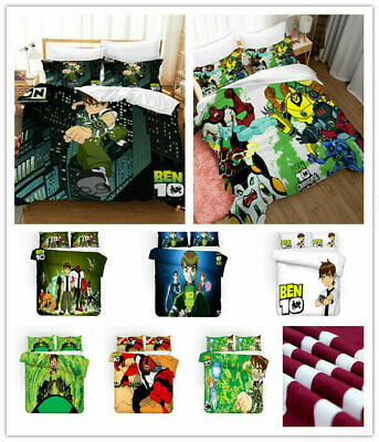 AU74.69 • Buy Ben 10 3D Bedding Set 2/3PCS Duvet Cover & Pillowcase(s) Gift UK12