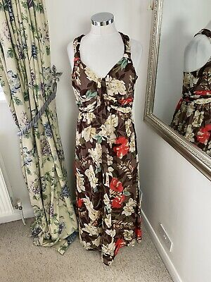 AU51.79 • Buy LK Bennett Size 14 Floral Print Cotton Floor Length Holiday Maxi Dress Summer